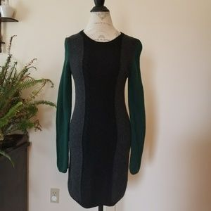Theory wool black green and grey sweater dress
